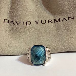 David Yurman Hampton Blue topaz & diamond ring